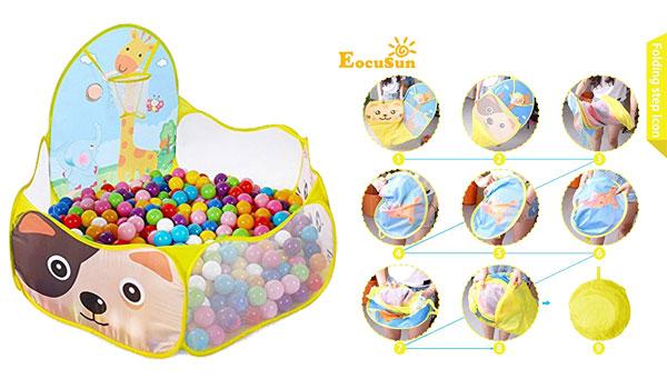 FocuSun Portable Folding Play House with Basketball Hoop and Zippered Bag