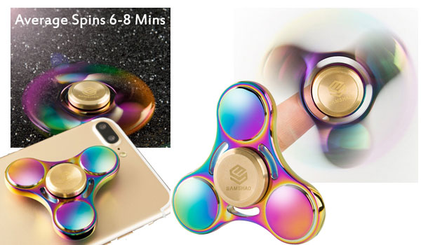 Fidget Spinner SAMSHAO 2017 Newest Rainbow Colorful Tri-Spinner Finger Toy