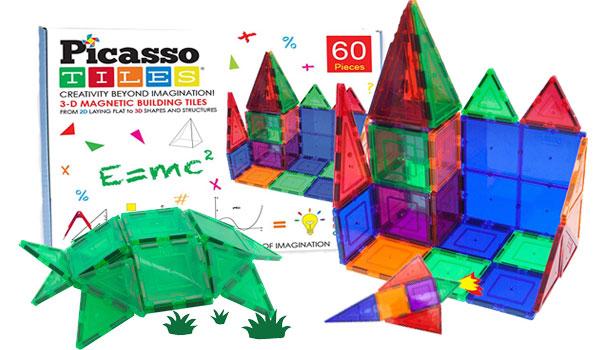 PicassoTiles 60 Piece Set 60pcs Magnet Building Tiles Clear Magnetic 3D Building Blocks Construction Playboards