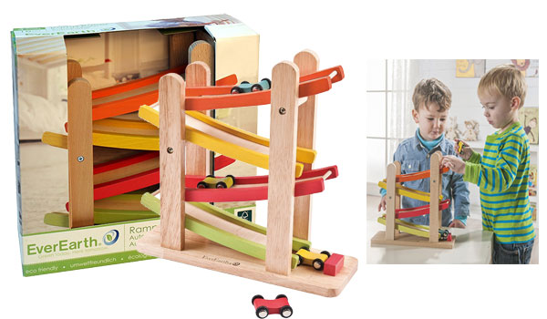 Race Track for Toddlers and 4 Wood Cars