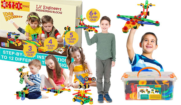 Original 93 Piece Educational Construction Engineering Building Blocks Set for 3, 4 and 5+ Year Old Boys & Girls
