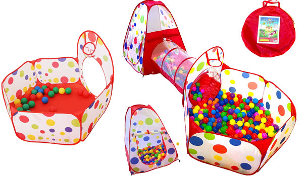 Playz 3pc Kids Play Tent Crawl Tunnel and Ball Pit