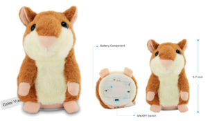 Talking Hamster Repeats What You Say Electronic Pet Talking Plush Buddy Mouse for Kids, 3 x 5.7 inches