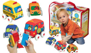 Melissa & Doug K's Kids Pull-Back Vehicle Set - Soft Baby Toy Set With 4 Cars and Trucks and Carrying Case
