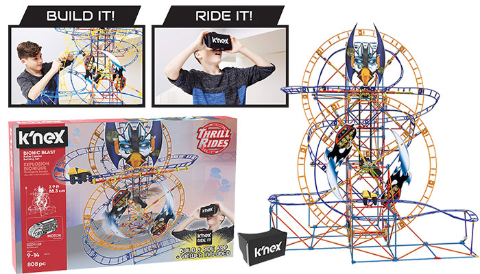 K'Nex Thrill Rides Bionic Blast Roller Coaster Building Set
